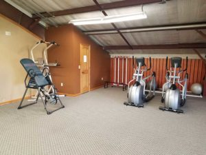 indoor gym area with inversion table and 2 elliptical machines