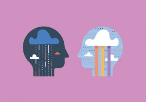 illustration two heads - one sad, the other happy feelings