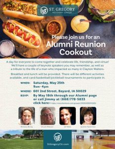 St Gregory Alumni Reunion Cookout May 25, 2019