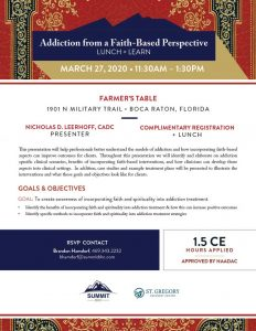 Addiction From Faith-Based Perspective (Lunch and Learn) March 27 2020