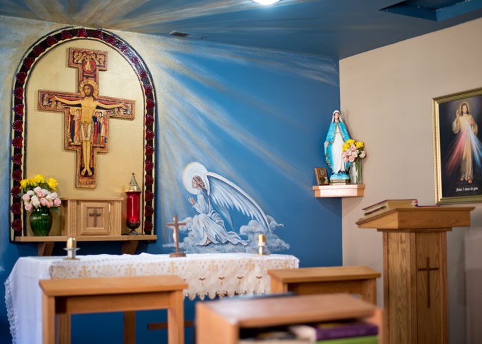 beautiful Catholic chapel at St. Gregory Recovery Center - Bayard, Iowa addiction treatment center - faith-based rehab in Iowa